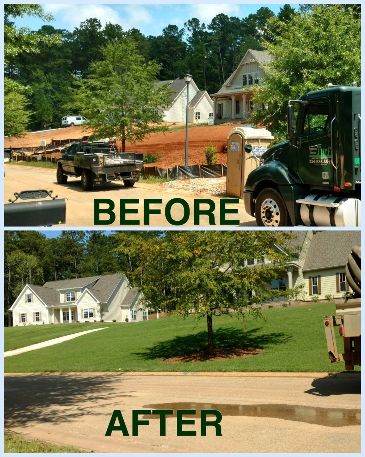 shot of a home before turf was laid and after turf was laid