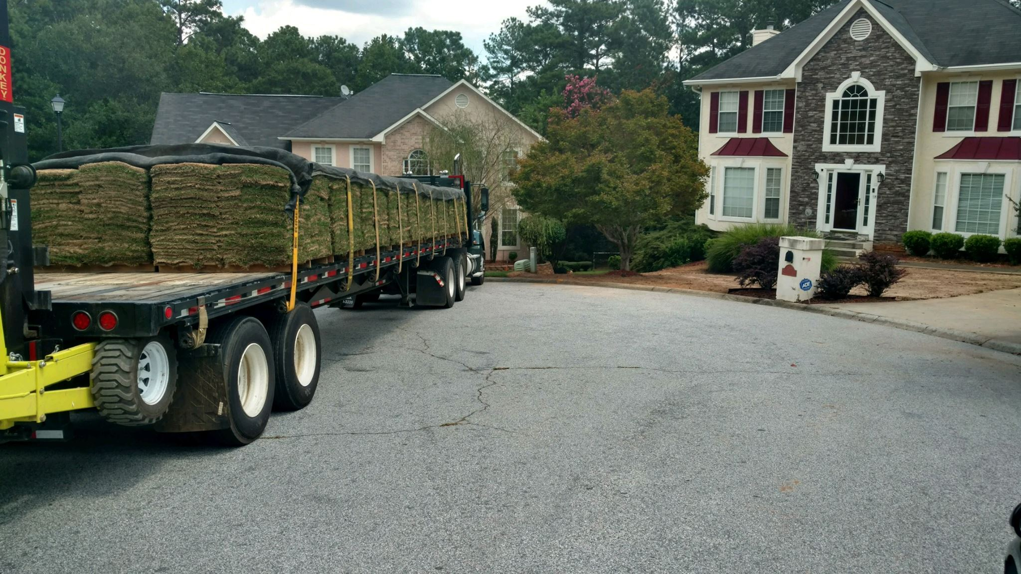 semi full of turf for a new lawn